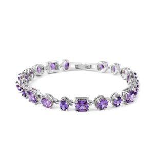 CZ Amethyst Silvertone Bracelet